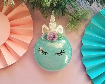 Unicorn Christmas Ornament - Unicorn Ornament - Glitter Unicorn Ornament - Magical Unicorn Ornament - Personalized Christmas Ornament