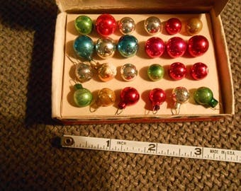 vintage miniature Christmas glass ornaments in box