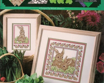 Cross Stitch Pattern Counted Vintage Cross Stitch Patterns Cross Stitch Leaflet The Rabbit Patch Cross Stitch Bunnies