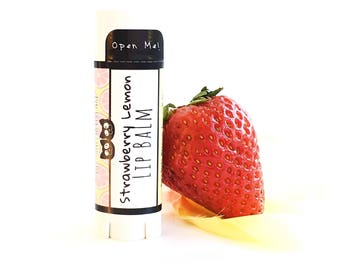 Strawberry Lemonade Natural Lip Balm- Organic Beeswax Lip Butter Natural Lip Balm