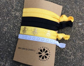 Knotted elastic hair tie - ponytail holder - yellow, black, yellow with bees, white