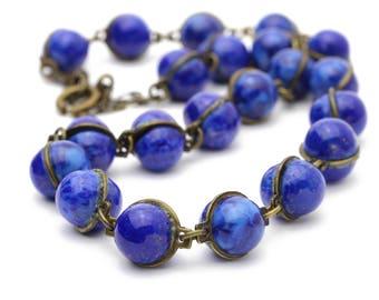 Vintage Lapis Cabochon Necklace Lapis Necklace with Brass Linked Chain