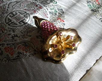 Vintage Hot Pink Rhinestone Gold Tone Brooch