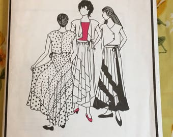 Park Bench Pattern Company Sewing Pattern Woodstock No 20 Misses Asymmetrical Swirl Skirt and Vest Cut- swirl skirt pattern, vest pattern