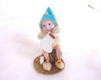 Vintage Christmas Elf Aqua 1950s Decoration Pine Cone Gnome Holiday Ornament Mid Century Pixie