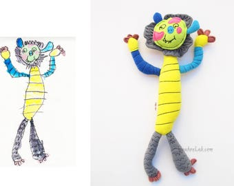 Custom doll from kid's drawing Turn your art into a plush - MADE TO ORDER