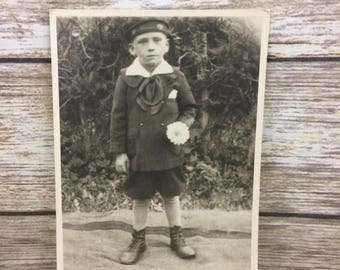 Mixed Media Arts, Vintage Antique Photo Photography Sepia, Young Hungarian Boy Child Holding Flower