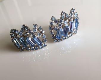 Blue Rhinestone Earrings Kramer of New York Vintage Jewelry