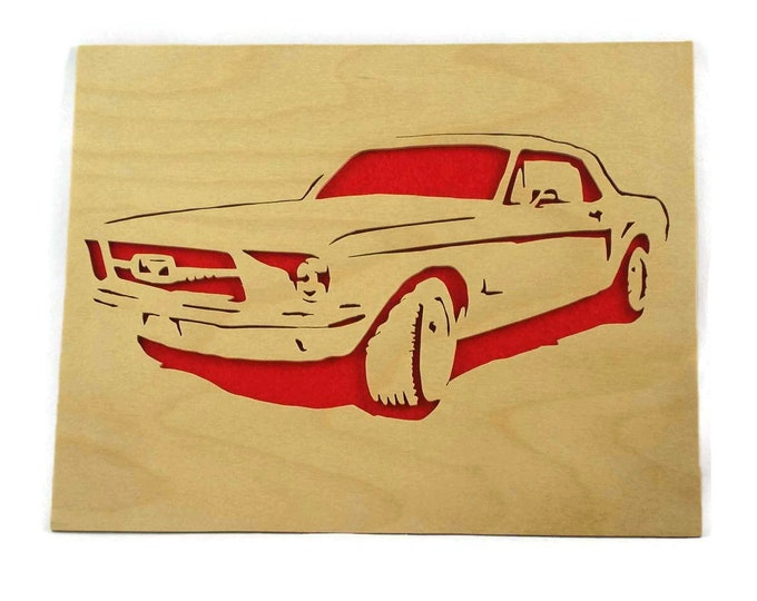 1965 Vintage Ford Mustang Wall Hanging Art Handmade From Birch Wood