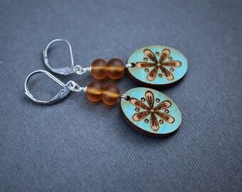 Painted Wood Earrings, Steel Earrings, Czech Glass Earrings, Rustic Earrings, Leverback Earrings, Wood Earrings, Burnished Wood