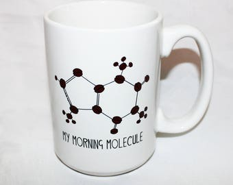 MY MORNING MOLECULE Coffee Cup - 15 oz. Large White Ceramic Mug  - Periodic Table & Caffeine Molecule-inspired Coffee Cup!