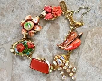 Vintage Earring Bracelet, Coral Enamel AB Rhinestone Thermoset Gold Copper Cameo Flower Mixed Gift for Her, Bridesmaid, Jennifer Jones OOAK