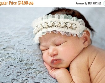 10% SALE newborn headband, adult headband, child headband and photography prop Single Sprinkled Victorian trim headband