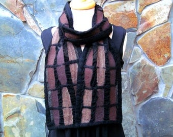Nuno felt scarf, abstract line design in shades of brown