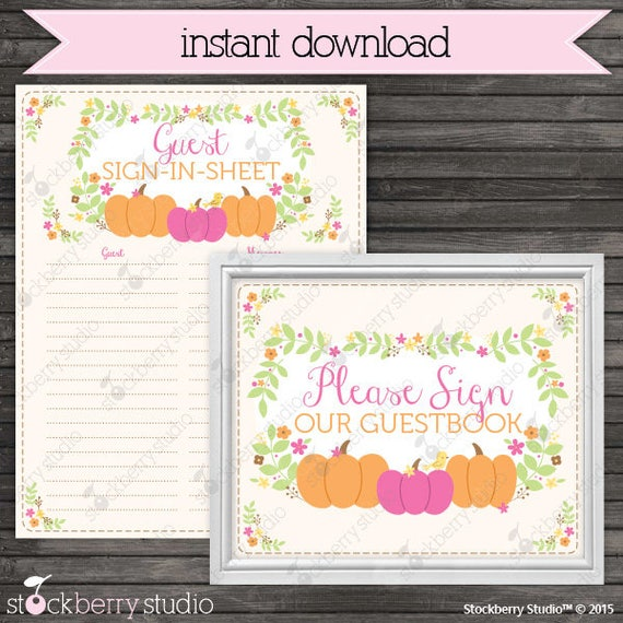 little pumpkin baby shower guest book sign in printable instant
