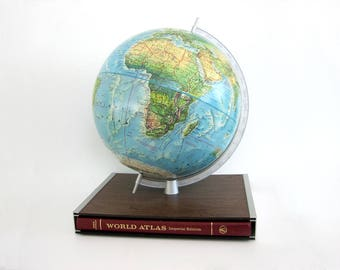 Vintage World Globe Rand McNally Atlas Desk Set Table Top Raised Relief Portrait Globe Back to School