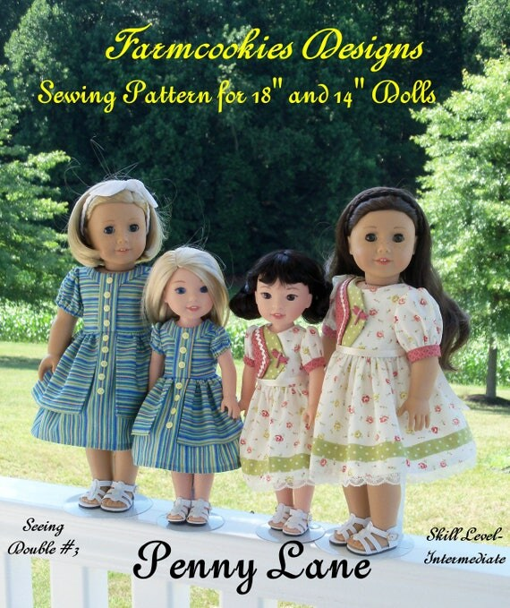 "2 Sizes! PDF Sewing Pattern: Penny Lane/ Sewing Pattern for BOTH 18"" American Girl  and 14"" Wellie Wishers®"