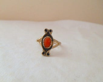 vintage silver with coral stone dainty Ring