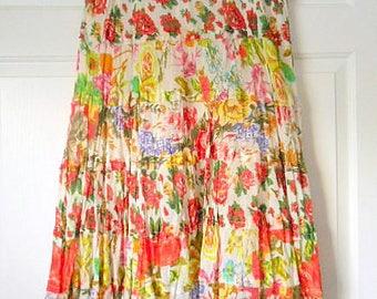 Vintage 90's cotton gauze India flower maxi Skirt