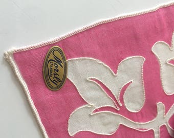 Collectible Vintage Handkerchief NOS Morsly Hanky with Tag Pink