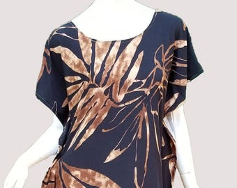 Stretch jersey knit caftan top- brown & black (size S; US 6)