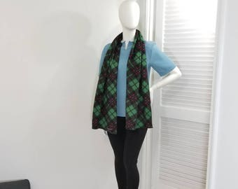 Green, black and red plaid fleece scarf