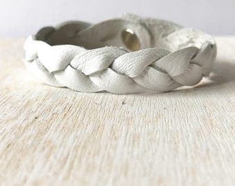 Braided leather bracelet - Cloud 9
