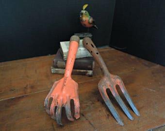 Two Vintage Claw / Fork Garden Tools / Orange Garden tools / Metal Garden Tools