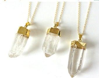 SALE - Raw Quartz Crystal Necklace, Crystal Necklace, Gold Long Necklace, Clear Crystal Point Necklace, Layering Jewelry, Boho Minimalist Ne
