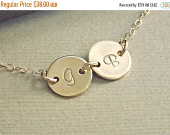 SALE - Personalized Two Disc Bracelet, Tiny Initial Disc Gold Filled Bracelet,  Mother Sister Children Best Friends Bracelet, Family Jewelry