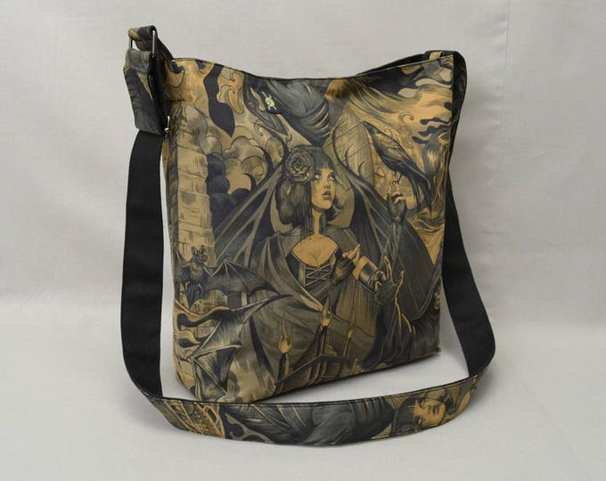 Gothic Sorceress Large Crossbody Bag, Grim Reaper, Bats, Fabric Bag, Canvas Liner, Work School Book Bag, Black, Brown