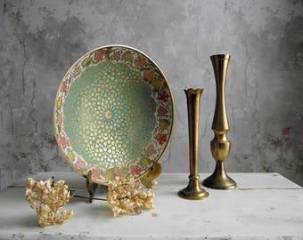 India Brass Enamel Painted Bowl  , Raised Relief Brass Bowl , Decorative Green Floral Enamel Brass Bowl , Vintage Brass Boho Chic Decor