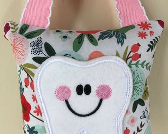 Tooth Fairy Pillow - Spring Floral Pillow with Light Pink Ribbon - Kids Pillow - Kids Gift