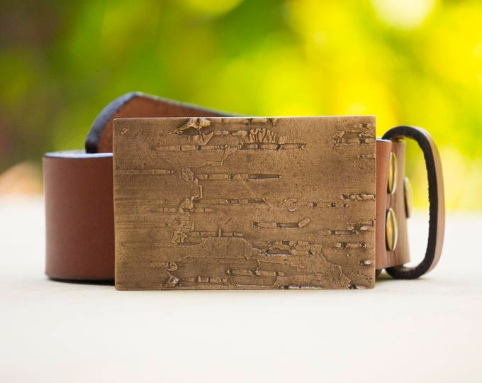 "Birch 2.0"" Bronze Belt Buckle and Top Grain Leather Strap"