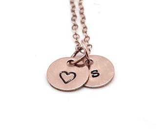 Letter s Necklace, Heart Necklace, Rose Gold, Initial Necklace, Hand Stamped Jewelry, Personalized Jewelry, Mother's Necklace, All Letters
