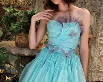MEMORIAL SALE Redesigned Strapless Fan Bustier Dress SILK Cocktail Dress, Butterflies Swarovski Crystals, Prom Dress, Handmade Clothing by T
