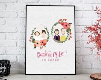 Anniversary Gift | Custom Wedding Portrait | Anniversary Portrait | Wedding Photo Gift | Custom Portrait Illustration | Personalized Gift