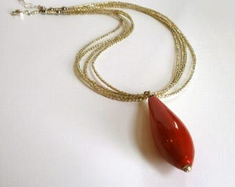 Red Venetian Bead Necklace Red Teardrop Pendant Multi Strand Seed Beaded Necklace Focal Bead Statement Jewelry