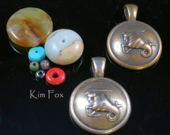 Round Capricorn Pendant - December 22 - January 20 - Capricorn Sea Goat in Solid Golden Bronze or Sterling Silver by Kim Fox