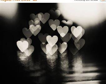 Love Art: Love lights Fine Art Photography, valentines day decor heart bokeh lovers couple art print Still life, Black and White Photography