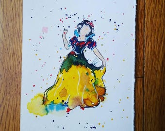 "Snow White watercolor painting (5""x7"")"