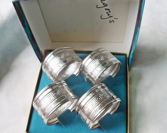 Set of 4 Gorham EP Silverplate NAPKIN RINGS YC23 Greek Key Pattern