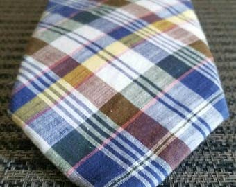 Vintage Lands End Tie Plaid Striped Tartan Men's Necktie 100% Cotton Made in USA Classic Office Dress Attire Brown Blue Yellow Green Pink LE