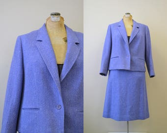 1980s Pendleton Periwinkle Skirt Suit