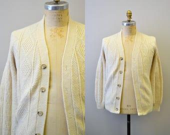 1960s Lahmar Cream Cable Cardigan Sweater