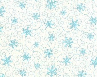 ON SALE Moda HO Ho Ho Deb Strain 1/2 Yard Snow White With Teal Blue Snowflakes 19704-16