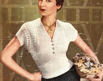 1950s Lacy Knitted Jumper - vintage knitting pattern (529) Sirdar 1404