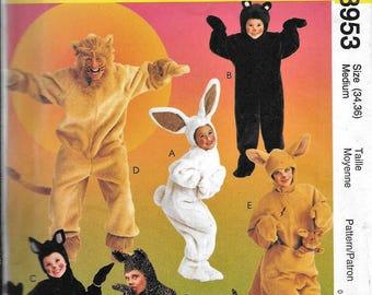 McCall's MP308/ MP315/ 8953 Adult Cat Bunny Lion Kangaroo Costume Pattern UNCUT Size Medium