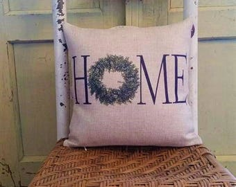 HOME pillow, Farmhouse decor, Boxwood wreath, Home with wreath pillow
