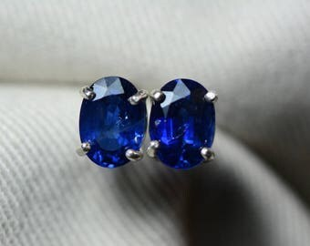Sapphire Earrings, Blue Sapphire Stud Earrings 2.36 Carat Appraised at 1,900.00, September Birthstone, Real Genuine Natural Jewelry